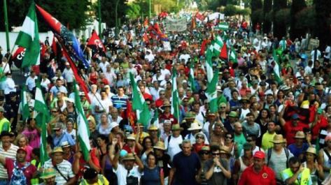 Marcha por la Dignidad que salía de Córdoba camino de Madrid el día 15 de Marzo.