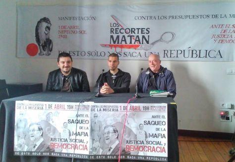 """Portavoces en la rueda de prensa de la manifestación """"Ante el saqueo de la mafia, justicia social y democracia"""""""