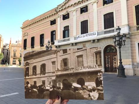 El ayuntamiento de Sabadell colocó un pancarta idéntica a la que en 19361 celebró la victoria del Frente Popular