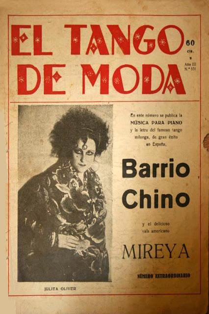 Julita Oliver, portada de El tango de moda, con su impactante imagen noir
