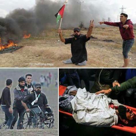 En el año 2008, Ibrahim Abu Thuruya perdió ambas piernas durante el asalto de Israelí a Gaza. Ayer recibió un disparo en la cabeza que le produjo la muerte instantánea en una manifestación cerca de la frontera. No portaba ningún arma en sus manos, sólo llevaba un ardiente anhelo de JUSTICIA